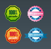100% guarantee certificate. 100% guarantee retro certificates set vector illustration