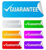 Guarantee check mark,rectangular stickers Royalty Free Stock Photo