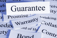 Guarantee. Concept - a conceptual look at a , warranty, bond, contract, surety, collateral, pledge Royalty Free Stock Photo
