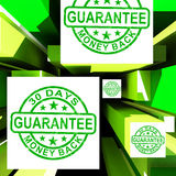 Guarantee On Cubes Shows Certificated Item. Or Customers Satisfaction Royalty Free Stock Photo