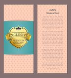 100 Guarantee Exclusive Premium Quality Since 1980. Promo leaflet design with shiny golden label, vector illustration cover template, advertisement Stock Illustration