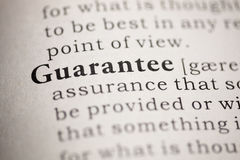 Guarantee. Fake Dictionary, Dictionary definition of the word Guarantee. including key descriptive words Royalty Free Stock Image