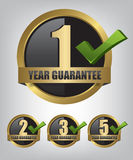 Guarantee gold label button set. Illustration Royalty Free Stock Photo
