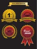 Guarantee golden badge. And wibbon, warranty, guarantee and no 1 brand Vector Illustration