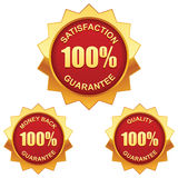 Guarantee golden labels. Vector set of 100% guarantee golden labels royalty free illustration
