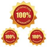 Guarantee golden labels. Vector set of 100% guarantee golden labels Royalty Free Illustration