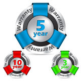 Guarantee insignia set of 3. Guarantee insignias with ten 5 and 3 year warraties Stock Image