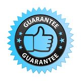Guarantee label. Vector illustration of guarantee label with thumbs up sign. stamp or seal on isolated white background royalty free illustration