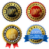 Guarantee labels. Collection of 100% guarantee golden labels vector illustration