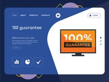 100 guarantee Landing page website template design. Quality One Page 100 guarantee Website Template Vector Eps, Modern Web Design with flat UI elements and Stock Photography