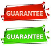 Guarantee sign. Guarantee modern 3d sign isolated on white background,color red and green Royalty Free Stock Photos