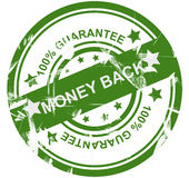 100% guarantee money back. Illustration of 100% money back guarantee stamp isolated on white background Royalty Free Stock Photo