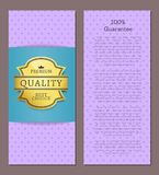 Guarantee Premium Best Choice Exclusive Quality. 100 guarantee premium best choice exclusive quality golden label award emblem isolated on purple Vector Royalty Free Stock Image