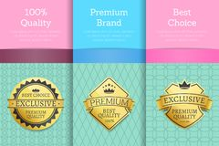 100 Guarantee Premium Brand Best Choice Set Poster. 100 guarantee premium brand best choice set of posters golden labels guarantee stickers awards, vector Stock Photo