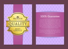 Guarantee Premium Quality Best Choice Golden Label. 100 guarantee premium quality best choice golden label on brochure in purple color with place for text Vector Illustration