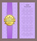 100 Guarantee Premium Quality Best Choice Poster. With place for text vector illustration isolated on purple background, promotional certificate label stock illustration