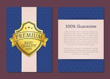 100 Guarantee Premium Quality Exclusive Choice. 100 guarantee premium best quality exclusive choice golden award guarantee label logo isolated on blue background Stock Photos