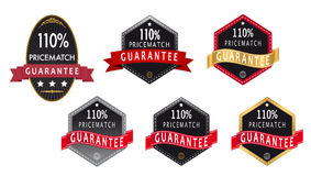 110% guarantee price match label. Set of different guarantee label in gold silver  and red colors Royalty Free Stock Photography