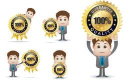 Guarantee quality badge character Royalty Free Stock Photos