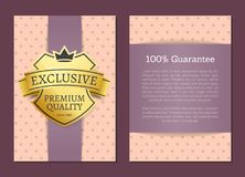 100 Guarantee Quality Label Vector Illustration. 100 guarantee exclusive premium quality label with text sample for writing own ideas vector illustration  on Stock Image