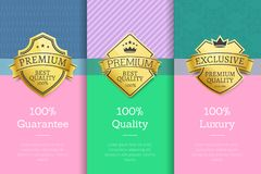 100 Guarantee Quality Luxury Set of Poster Labels. 100 guarantee quality luxury set of posters with golden labels, certificate stamps  on abstract backgrounds Royalty Free Stock Photos