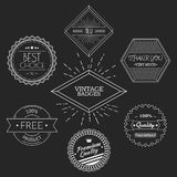 Guarantee, quality, thank you, best choice vintage. Retro badges white on black chalkboard background. Vector illustration Stock Image