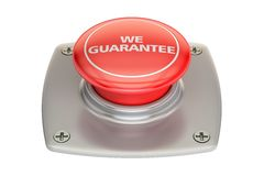 We guarantee red button, 3D rendering. Isolated on white background Royalty Free Stock Image