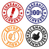 Guarantee rubber stamps. Rubber stamps of guarantee, recommend, editor's choice vector illustration