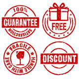 Guarantee rubber stamps II. Rubber stamps of guarantee, free gift, discount and fragile Stock Photos
