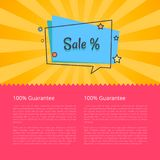 100 Guarantee Sale Banner in Square Speech Bubble. 100 guarantee sale banner in speech bubble with color background with stars vector  on yellow and pink. Poster Royalty Free Stock Photo