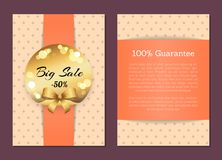 100 Guarantee Sale Cover Front Back Page Label. 100 guarantee sale cover front back page with golden label big sale half price place for text vector illustration royalty free illustration