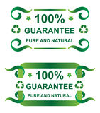 Guarantee seal. Pure and natural 100% guarantee seal Royalty Free Stock Photo
