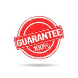 Guarantee 100 percent grunge seal stamp logo. Guarantee seal hand made design stock illustration