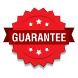 Guarantee seal. Vector illustration of guarantee seal red star on isolated white background stock illustration