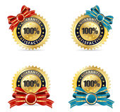 Guarantee set gold red and blue ribbon Stock Images