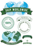 Guarantee and shipping labels. And badges Royalty Free Stock Image