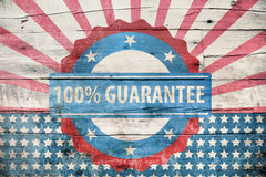 100% guarantee sign on wooden texture. 100% guarantee symbol on wooden texture stock illustration