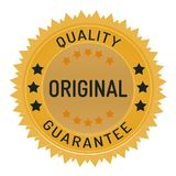 Guarantee stamp isolated on white. Guarantee stamp ribbon and badge style design element on white background Stock Illustration