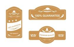 Guarantee Sticker. Sticker set with guarantee and premium written Royalty Free Stock Image