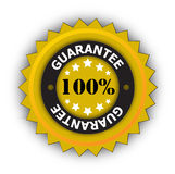 100% Guarantee sticker. Large circular sticker or seal with the words 100% guarantee.  Suitable for web icon or button Royalty Free Stock Photo