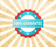 100% guarantee vintage. 100% guarantee badge retro style Stock Image