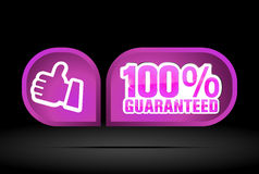 Guaranteed. 100% guaranteed label on a black background Royalty Free Stock Images