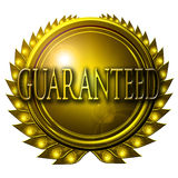 Guaranteed. Gold medal with guaranteed written on it Stock Images