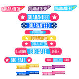 Guaranteed and big sale banners set / collection. Royalty Free Stock Image