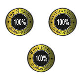 Guaranteed labels, certificates. Quality, best price and satisfaction guaranteed gold labels, certificates Stock Photos