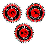 Guaranteed labels vector. Quality, best price and satisfaction guaranteed labels, certificate vector illustration