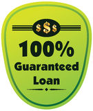 100% guaranteed loan  label or badge isolated on white bac. Kground. One hundred percent guarantee loan label assuring loan for the property or object Royalty Free Stock Image