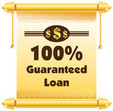 100% guaranteed loan  label or badge isolated on white bac. Kground. One hundred percent guarantee loan label assuring loan for the property or object Stock Images