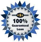 100% guaranteed loan label or badge isolated on white bac. Kground. One hundred percent guarantee loan label assuring loan for the property or object royalty free illustration