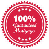100% guaranteed mortgage  label or badge isolated on white. Background. One hundred percent guarantee rent label assuring rent for the property or object Royalty Free Stock Image